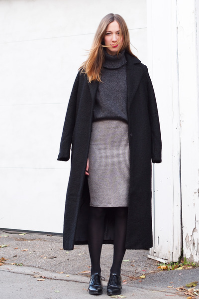 black Forever 21 coat - dark gray Forever 21 sweater - silver Forever 21 skirt