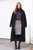 black Forever 21 coat - dark gray Forever 21 sweater - silver Forever 21 skirt