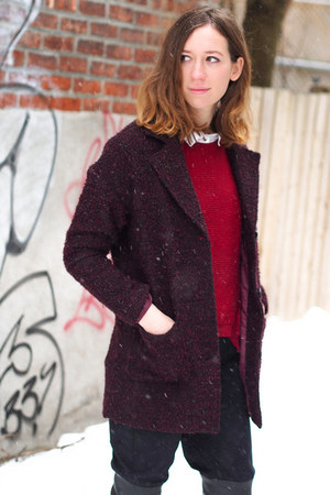crimson H&M coat - ruby red PERSUNMALL sweater - black Front Row Shop pants
