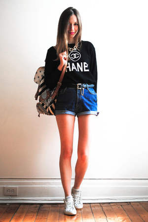 black fake chanel Choies sweater - blue DIY shorts - white Feiyue sneakers