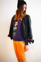 black leather twik jacket - deep purple Forever21 romper