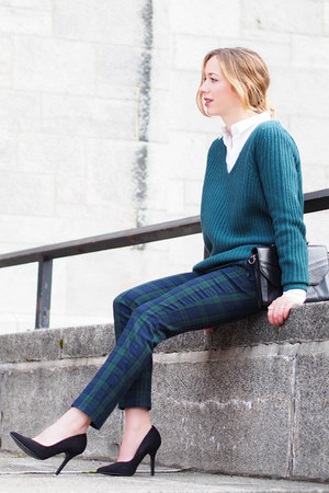 teal Simons sweater - white 424 Fifth shirt - teal Smart Set pants