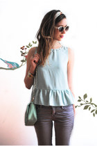 aquamarine peplum Sugarlips top - light purple pastel Gap jeans