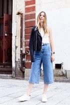 white SANDRO sneakers - sky blue Topshop jeans - dark gray Paige jacket