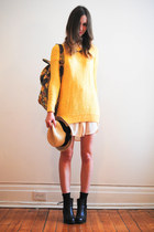 yellow H&M sweater - beige straw Gap hat