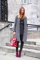 heather gray oversized vintage coat - black Zara top
