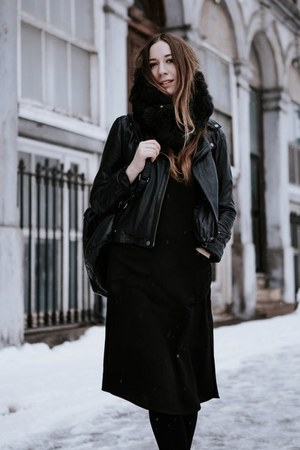 black Forever 21 dress - black leather Aritzia coat - black Free Island bag