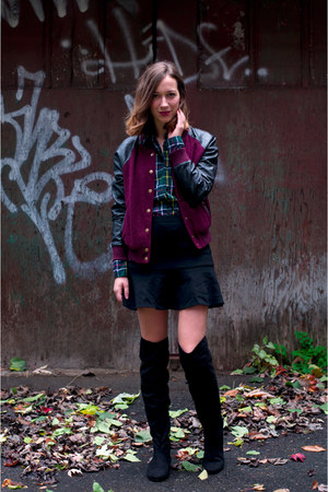 black over the knee Call it Spring boots - crimson baseball Forever 21 jacket