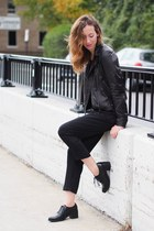 black Jeffrey Campbell shoes - black Aritzia coat - black Thefreeisland jumper