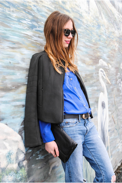 blue boyfriend Gap jeans - black Joe Fresh jacket - blue Vince Camuto shirt