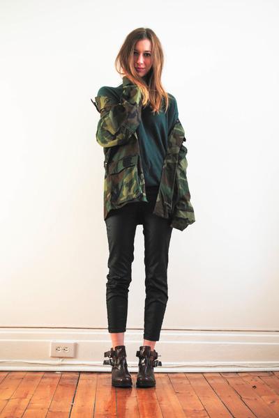 dark green turtleneck vintage top - dark brown Topshop boots