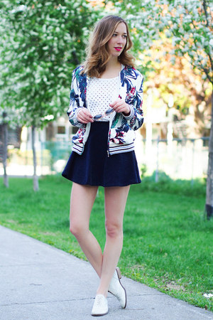 blue Choies jacket - white American Apparel top - navy OASAP skirt