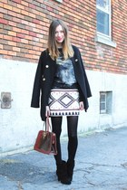 ivory Zara skirt - ruby red vintage bag - black Zara jumper