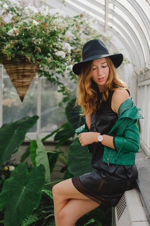 black leather New Social Class dress - black Forever 21 hat - green Zara jacket