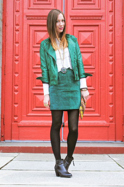 Turquoise; Suede Skirt And Boots | Chictopia