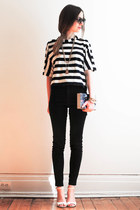 white striped Zara top - black easy jeans American Apparel jeans