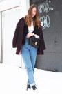 Sky-blue-mom-american-apparel-jeans-maroon-h-m-jacket-white-oasap-shirt