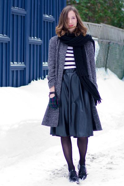 black Jeffrey Campbell loafers - gray vintage coat - black Choies skirt