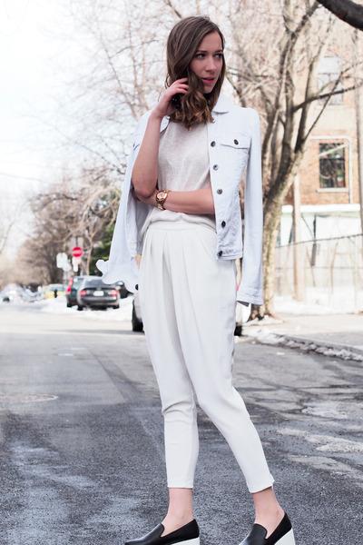 white jean Smart Set jacket - white Sheinside pants
