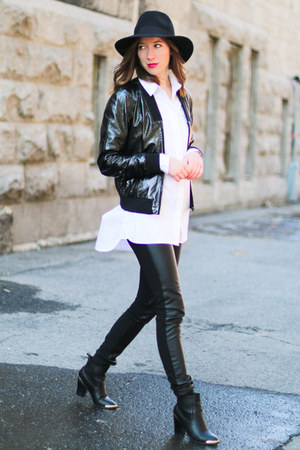 black leather 424 Fifth jacket - black Boohoo boots - black Forever 21 hat