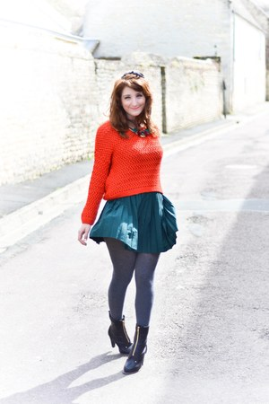 pull&bear sweater - milanoo boots - H&M skirt