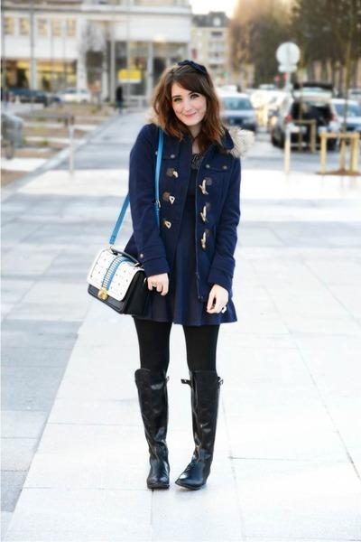 La halle coat - Clarks boots - H&M dress