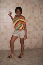H&M shorts - orange blouse - Nine West shoes