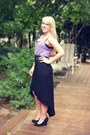 Light-purple-top-black-high-low-skirt-black-wedges