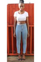 white Topshop top - black Topshop jeans - black Primark heels