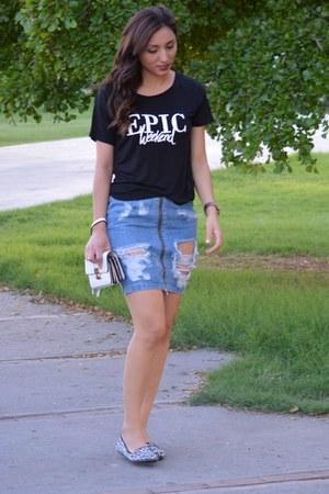 H&M skirt - white Forever 21 bag - black H&M top - brown Forever 21 flats