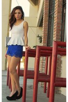 black Forever 21 bag - blue Forever 21 shorts - white papaya blouse