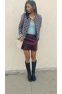 Light-blue-forever-21-jacket-ivory-hm-bag-crimson-desv-skirt