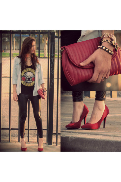 black Forever 21 shirt - brick red Forever 21 heels - Michael Kors watch
