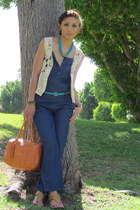 ivory DIY vest - orange Aldo bag - turquoise blue Forever 21 necklace