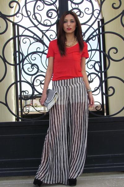 red Forever 21 shirt - white Forever21 bag - black LOB pants
