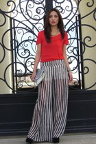 red Forever 21 shirt - white Forever21 bag - black LOB pants