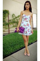 light blue Forever 21 dress - amethyst Jessica Simpson bag