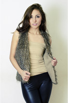black 579 leggings - brown fur Forever 21 vest