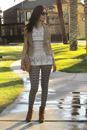crimson Forever 21 leggings - brown Michael Kors boots