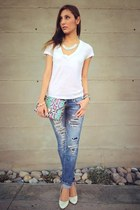 white Forever 21 shirt - hollister jeans - light purple H&M bag - H&M heels