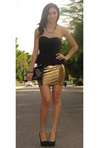 bronze Forever 21 skirt - Forever 21 necklace - black Forever 21 top