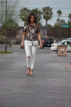 white Forever 21 jeans - white Forever 21 bag - brown H&M top
