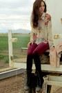 Black-forever-21-boots-crimson-forever-21-leggings-beige-forever-21-blouse