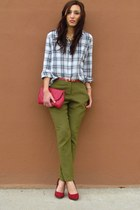 army green Forever 21 pants - Michael Kors watch - gray forever 21 old blouse