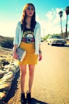 black Forever 21 blouse - gold forever 21 old skirt