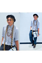 light blue TRT bag - brown boots - sky blue embelished shirt - bronze scarf