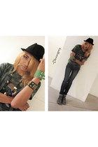 heather gray skinny jeans - black fedora from vigan hat - sneakers - dark green