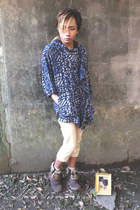 brown boots - navy cape jacket - beige shorts