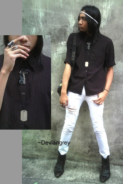 s black shirts whites brown boots black