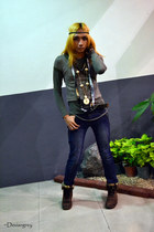 dark brown boots - navy denim skinny jeans - brown diyfloral scarf - olive green